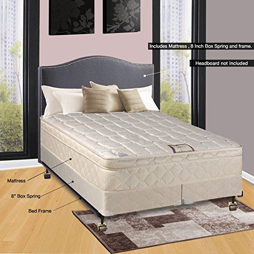 continental sleep fully assembled orthopedic pillow top mattress and 8 split box spring with bed frame queen matress pinterest