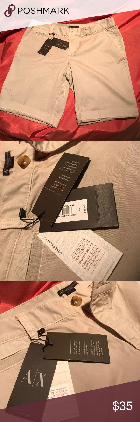 NWT A|X Armani Lightweight Khaki Shorts Sz8 Authentic & Classic! Armani Exchange Shorts