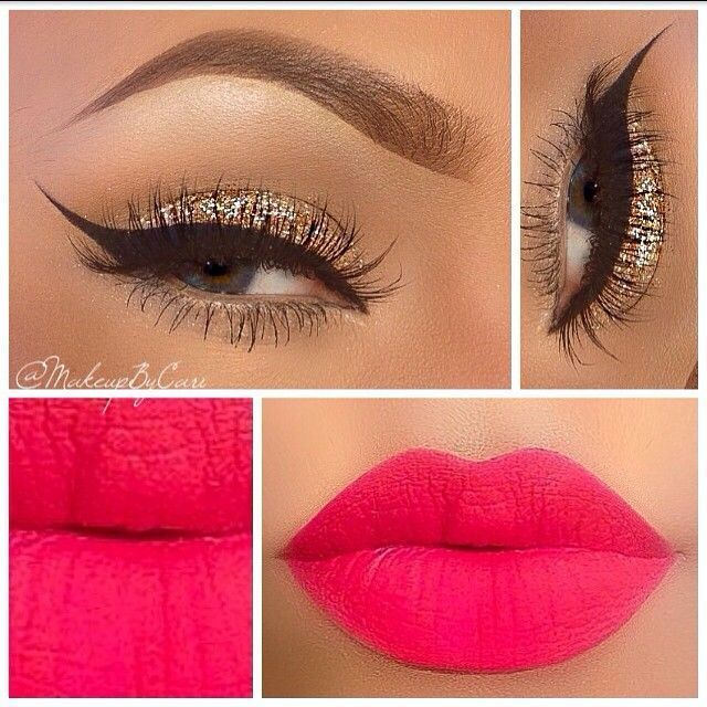 Gold eye shadow with dramatic winged liner and bright pink lips | thebeautyspotqld.com.au