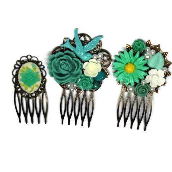 Green Combs Set Of 3 Wedding Combs Bridal Combs Bridesmaid Comb