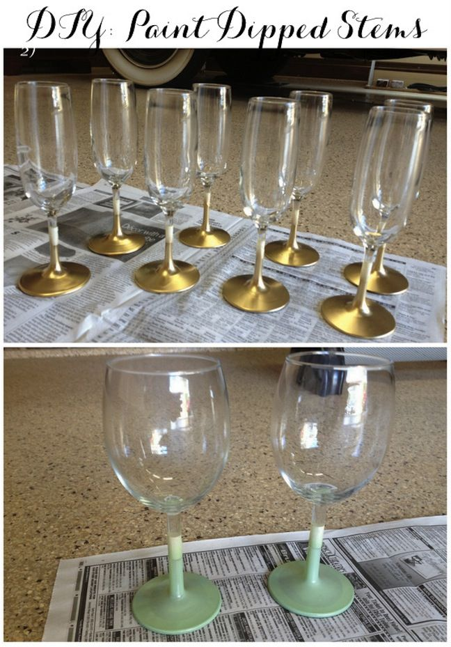 Linen lace love diy paint dipped stems diy for Painted wine glasses with initials