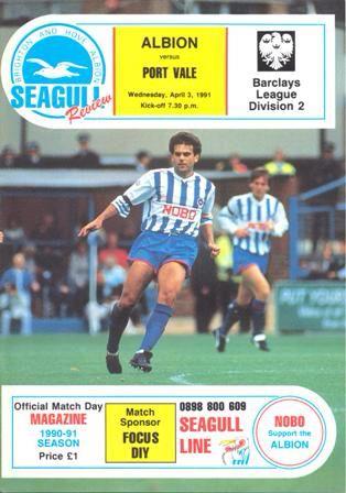 Brighton and Hove Albion FC vs Port Vale: match programme: 1990-1991 season #bhafc