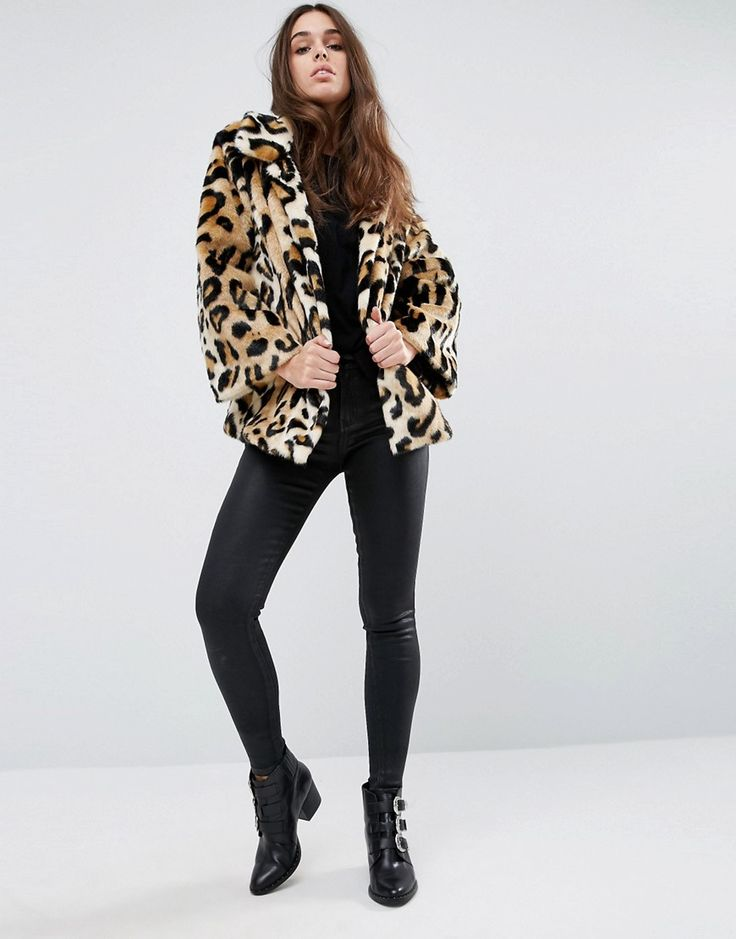 Image 4 of ASOS Swing Coat in Leopard Faux Fur