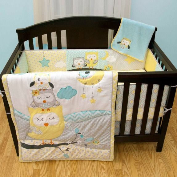 Naptime owls nursery set - Love the patterns and colors