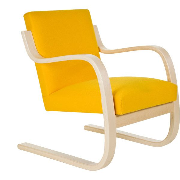 Artek Armchair 402 - Yellow (€2.330) ❤ liked on Polyvore featuring home, furniture, chairs, accent chairs, chair, yellow arm chair, yellow chair, yellow accent chair, artek chair and lacquer furniture