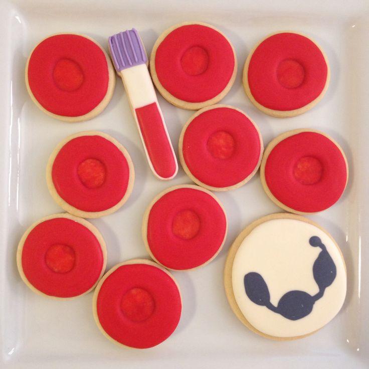 Blood cell cookies for lab week. By The PhD Cookie. www.facebook.com/ThePhDCookie #thephdcookie on Instagram