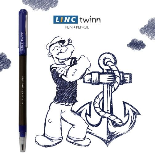 All he needs is strength from a can of spinach. Can you guess this popular cartoon character sketched with a pen? #GuessTheName #Cartoon #LincPens #LincTwinn