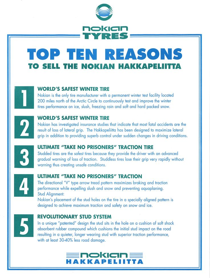 #TBT - this time from the 1990s: Top Five Reasons to Sell the #Nokian #Hakkapeliitta.