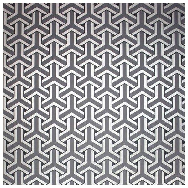 Papier peint géométrique gris Trifid - Osborne & Little - Au fil des Couleurs
