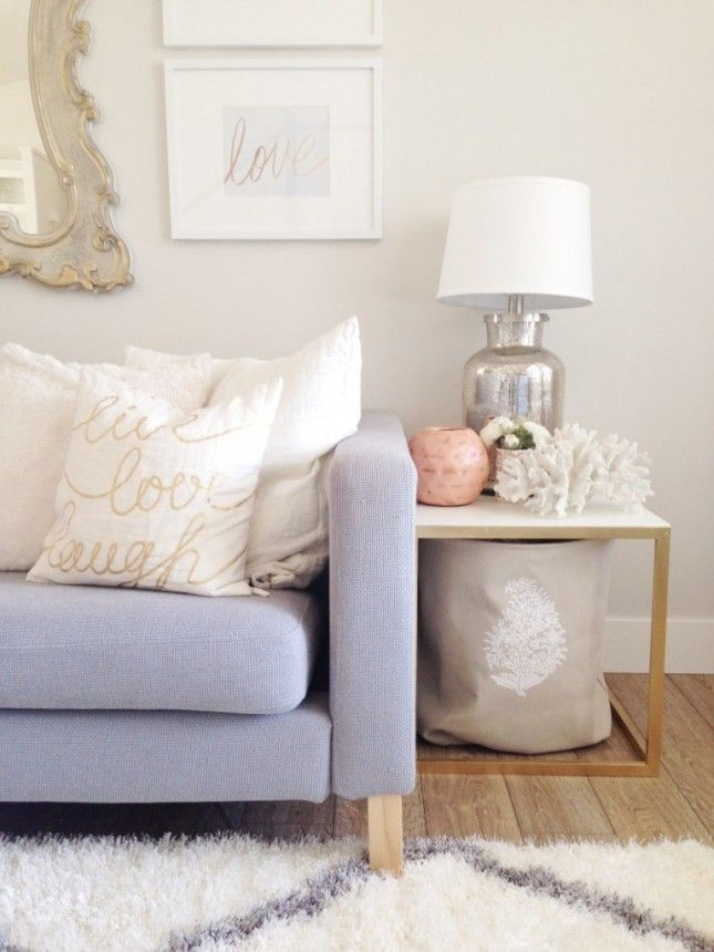 21 IKEA Nightstand Hacks Your Bedroom Needs via Brit + Co    Golden Side Tables: Isn't it amazing how a little bit of gold spray paint can take a plain IKEA table to instant glam?