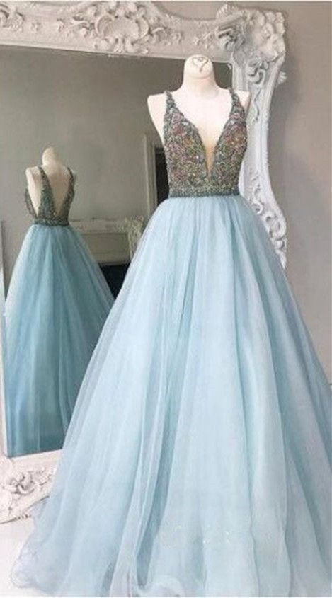 Elegant blue tulle Prom Dresses V neck A-line sequins bridesmaid long dress,princess formal dress A line Deep V-neck Beading Bodice Long Prom Dresses Evening Dresses