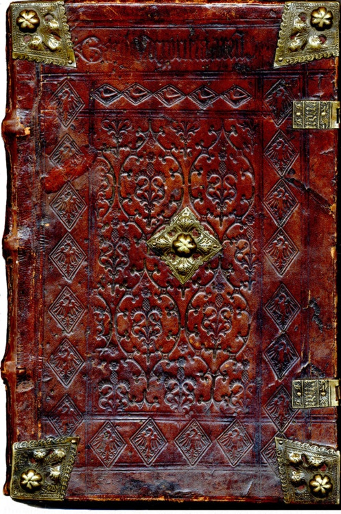 """Another example of a 15th century """"chain bound"""" tooled leather book,"""