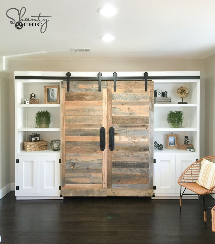 hidden home office. free plans and tutorial to create an amazing diy sliding barn door hidden desk system home office o