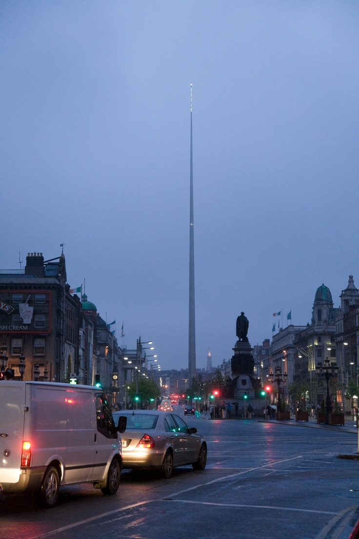 O'Connell Street, Dublin, Ireland. That needle like thing was supposed to remember the new millennium in 2000. Instead, it ended comes in 2002 because there was a problem with it.