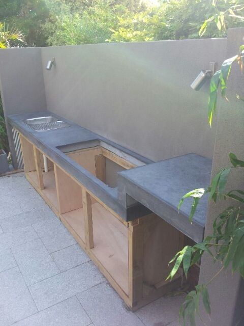 Polished concrete BBQ bench top with step up – Concrete Studio - concrete furniture, architectural elements, benchtops & sinks