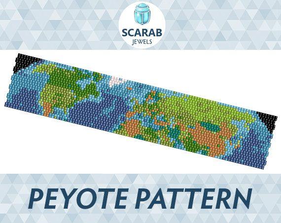 Map of Earth Pattern Peyote Bead Bracelet / Cuff