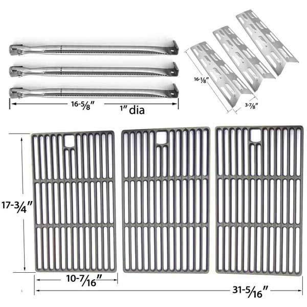REPLACEMENT KIT INCLUDES 3 STAINLESS BURNERS, 3 STAINLESS HEAT PLATES AND PORCELAIN CAST GRATES FOR PERFECT FLAME SLG2007D, 65499, 67119 GAS MODELS Fits Compatible Perfect Flame Models : 61701, SLG2007A, SLG2007D, SLG2008A Read More @http://www.grillpartszone.com/shopexd.asp?id=34477&sid=35057