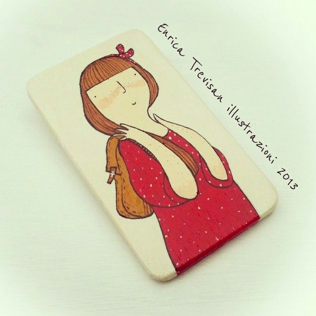 Rectangular wooden brooch hand painted with acrylic colors. Enrica Trevisan Illustrazioni