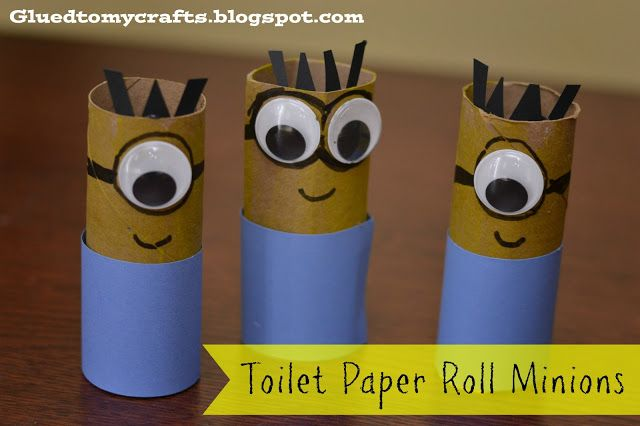 Despicable Me Minions made out of toilet paper rolls. Such a fun craft for kids! Cute! @Katherine Adams Adams Adams Adams Adams Adams M Save some toilet paper rolls and we'll make some of these when I come home. :)