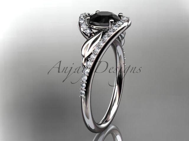14k white gold diamond leaf and vine wedding ring, engagement ring with a Black Diamond center stone ADLR317 by anjaysdesigns on Etsy https://www.etsy.com/listing/222950644/14k-white-gold-diamond-leaf-and-vine