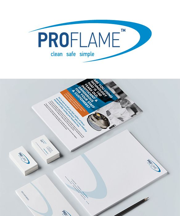 Proflame - Identity, double sided flyer and stationery. www.akgraphics.ie