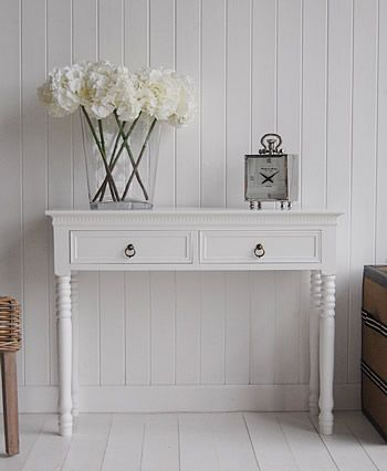New England white Console Table with Antique Brass handles  This is what I want for entry way