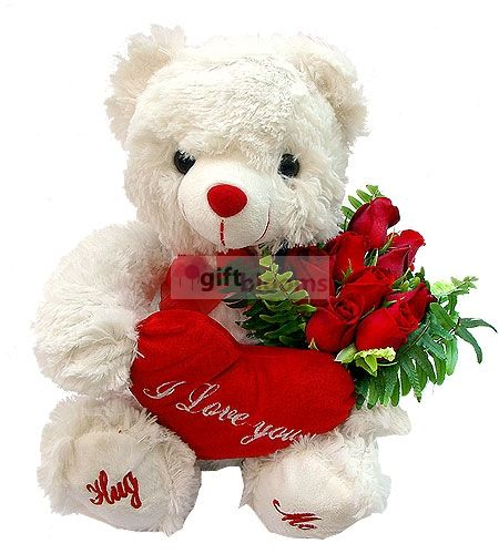 turkey Flowers - Plush bear Eleven Roses (G373) I love you cushion 30cm in height, you can import to order flowers 11 red Güllü bear bouquet. Tropic to the Flower (Istanbul, Ankara is in) Reduced: 35,00 TL