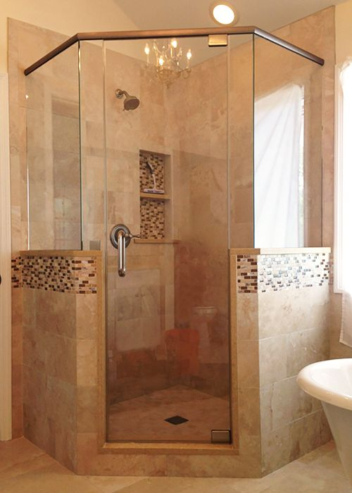 Neo-Angle shower doors have become more and more popular over the past couple years, and provide countless design options.