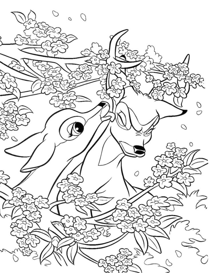 faline and bambi coloring page