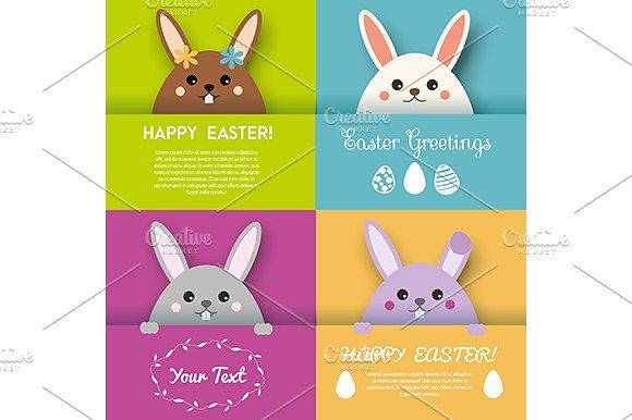Easter greeting cards. Cute bunnies by KSU's Little Shop on @creativemarket