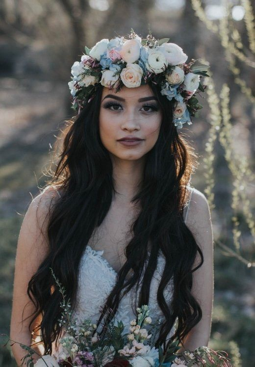 Ten Best Accessories for Your Boho Wedding Dress - Midgley Bride Mariah wearing Bristol by Sottero and Midgley and a gorgeous and ornate flower crown. Images courtesy of Bridal Closet