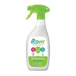 Ecover Multi-Action Spray 500mlmulti surface cleaner has a fresh perfume from plant based ingredients.  - effective cleaning with the power of nature.  - no residue of unnecessary chemicals.  This all purpose spray cleans and shines a wide variety of household surfaces. It is particularly suitable for kitchen and bathroom surfaces, tiles, glass, enamel, baths, basins acrylic and chrome
