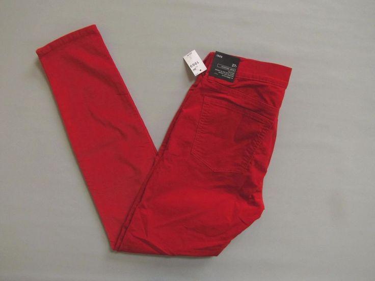 Gap 1969 Legging Cord Jeans Skinny Stretch Corduroy Pants 27 4 Vermilion Red New #GAP #Corduroys