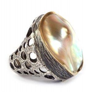 Anillo sortija perla mabe en plata y oro Gabriela Styliano www.sanci.es