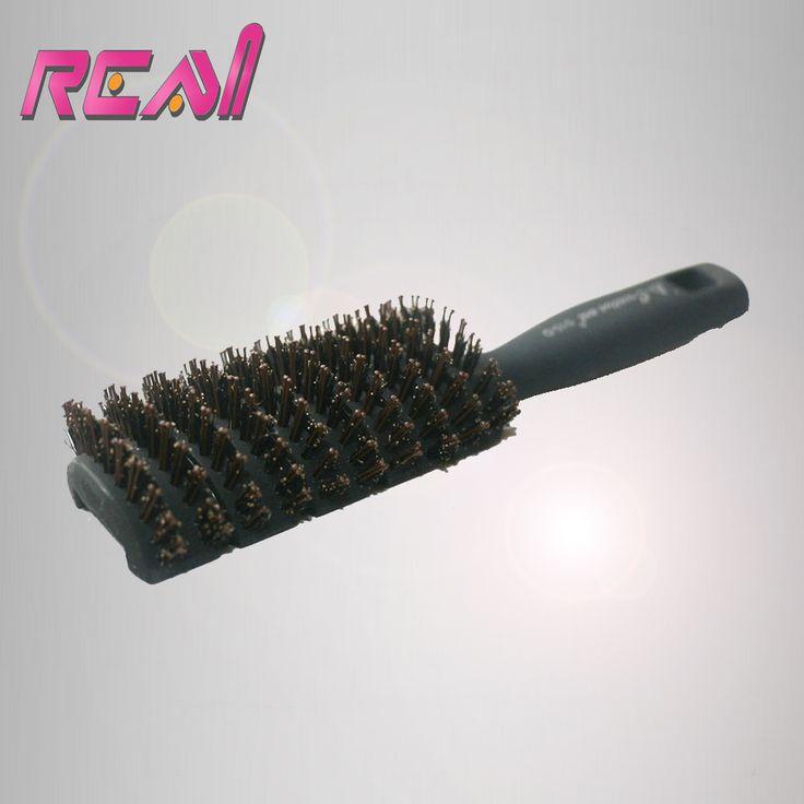 1 Piece Boar Bristle Hair Brush Comb,  Black Handle with Boar Bristle coated Nylon Stick