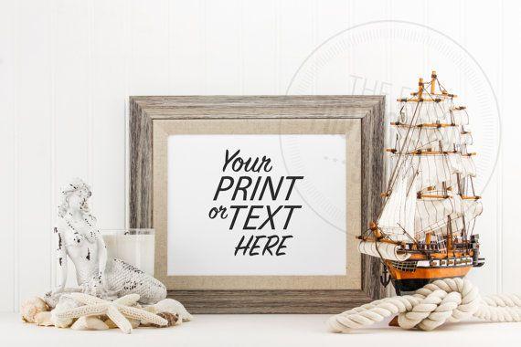 Styled Stock Photography / Beach, Seashells, Ocean, Mermaid, Rope, Sail Boat, Sea Ship, Nautical / Blank Frame / Empty Frame / BN011