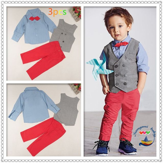 Toddler Boys Dresswear Kids Formal Party Outfit 3 Piece Baby Wedding Suit With Coat Shirt Jeans Children Clothing Set For Yrs Old
