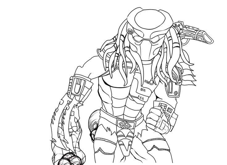 Alien vs Predator Coloring Pages | Predator Line Art by