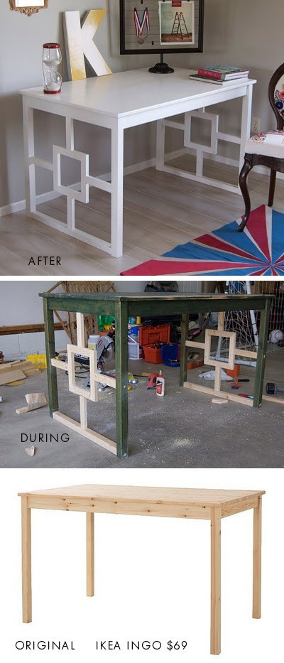 diy desk. I have this table from IKEA! It's a kid's play/craft table now, but this is a good redo for the future!