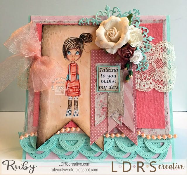 Ruby Montes, Saturated Canary Rubber,Copics, Handmade card, Stamping, Pattern love, and that's all she wrote, Krista Smith art, LDRS Creative, Little Darlings,