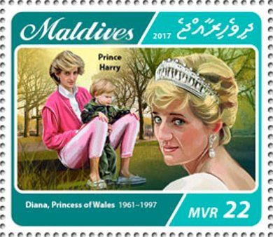 Stamp: Princess Diana with Prince Harry (Maldives) (20th memorial anniversary of Princess Diana) Mi:MV 6873