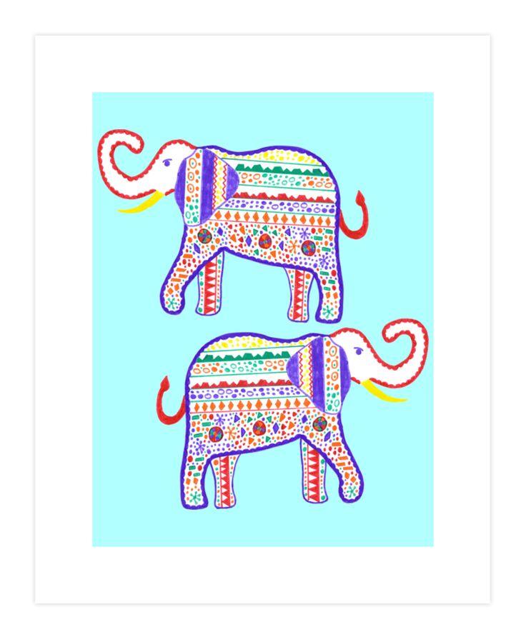 Elephant painted markers Art Print