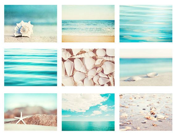 Aqua Blue Beach Photography Set – 9 ocean nautical prints, cream beige white, coastal sea gallery wa – Etsy