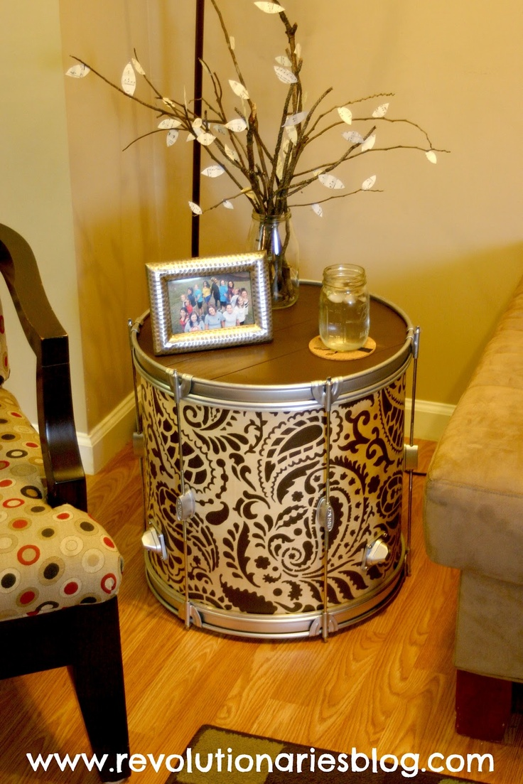 Diy Stenciled Drum Table Awesome Home Decor Project