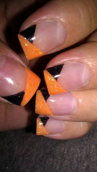 Holiday Nail Art - Halloween Pedicure Gloss Black & Orange Glitter angled overlay French style tips - free hand nail art