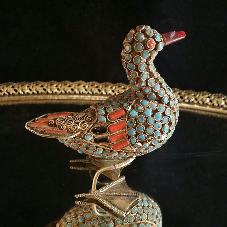 Antique Turquoise Coral Brass Enamel Bird Figurine Cloisonne Animals Figurine Asian Sculpture Folk Art Statue Jeweled Brass Bird by OldGLoriEstateSale on Etsy