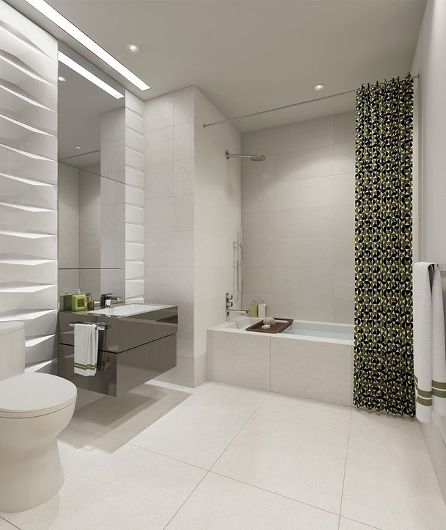 Contemporary Full Bathroom With Arizona Tile Pearl White Polished Porcelain Tile Bathrooms