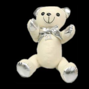 Sbear-21S $10.00 Silver Metalic Message Bear with 21 Diamond Charm 27cm