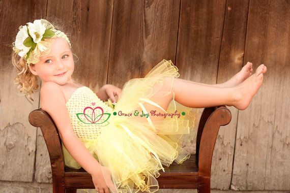 Tutu Dress and Headband 1T  4T  Lemon by MoonlightBeachDesign