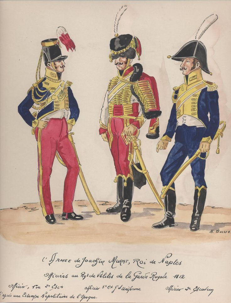 Naples; Garde Royale, Regiment of Velites a Cheval, Offices, 1st or 2nd Squadron, 5th Company, Grande Tenue & 2nd Squadron, 1812, by H.Boisselier